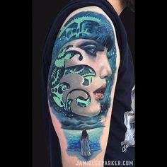 Tattooed one of my original designs the other day. Thanks so much Jon!#stencilstuff #mdtattoostudio #inkjecta #sullen #sullenartcollective #sullenclothing #sullentv #inkedmag #tattoosnob #tattooistartmag #skinartmag #tattooedbodyart