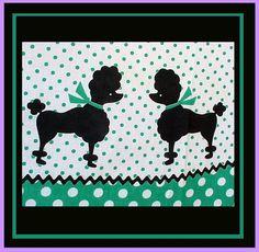 Vintage Poodle Dog Apron 1960s Aprinette Polka Dot Sewing Fabric