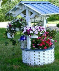 Garden Yard Ideas, Diy Garden Projects, Garden Crafts, Diy Garden Decor, Garden Planters, Garden Art, Wishing Well Garden, Backyard Landscaping, Beautiful Gardens