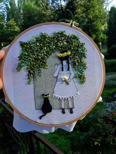 Picture girl with black cat Tropical leaves Hand embroidery decor picture embroidery Embroidered painting Home Decor for children Gift Picture girl with black cat Tropical leaves Hand. Hand Embroidery Stitches, Silk Ribbon Embroidery, Modern Embroidery, Embroidery Hoop Art, Hand Embroidery Designs, Embroidery Sampler, Embroidery Ideas, 3d Art, Donia