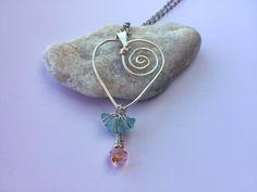 Wire Heart Pendant with Aqua Sea Glass by CreativityByColbee