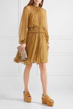 See by Chloé - Embroidered Suede Platform Sandals - Tan - IT36