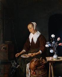 Woman Eating - Gabriel Metsu