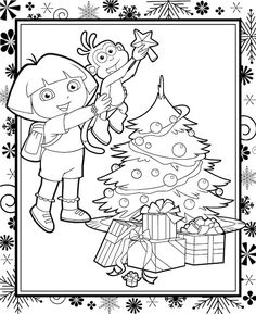Free Printable Dora Christmas Coloring Pages Picture 22 550x771