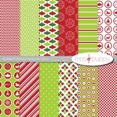 Christmas Digital Scrapbook Paper Pack and Clip Art by mooandpuppy  https://www.etsy.com/listing/112372794/christmas-digital-scrapbook-paper-pack?ref=shop_home_active_24