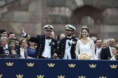 Prince Carl Philip & Sofia Hellqvist on balcony of the Royal Palace