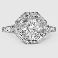 18K White Gold Roslin Diamond Ring // Set with a 1.38 Carat, Round, Very Good Cut, I Color, VVS2 Clarity Lab Diamond #BrilliantEarth