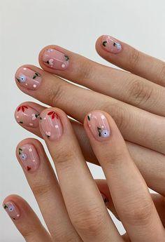 Nail Designs Spring, Nail Art Designs, Oval Shaped Nails, Ten Nails, Asian Nails, Cute Spring Nails, Summer Nails, Nail Tattoo, Round Nails