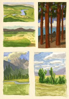 Some small watercolor thumbnails I made while driving cross country