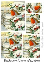 pretty robin sitting on a fence in the snow pyramids on Craftsuprint - View Now!