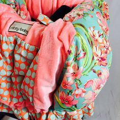 Love Bliss Shopping Cart Cover with Coral Minky by ShopRitzyBaby