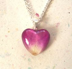 Real Rose Petal Glass and Resin Heart Pendant by GardenGemsJewelry, $15.95