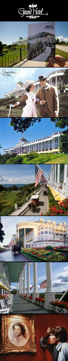Grand Hotel Mackinac Island, Michigan.  Come experience one of our most popular special package weekends, Somewhere in Time Weekend at Grand Hotel. This is the perfect weekend for movie lovers who want to know the cinematic secrets of the timeless classic Somewhere In Time filmed at Grand Hotel and on Mackinac Island in 1979 and released in 1980. This special weekend includes a screening of the film, discussions of the movie's production process, and visits with returning cast and crew.