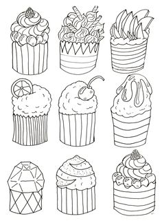 Simple cupcakes coloring page, original drawing to print and color by Olivier. To download for free on www.coloring-pages-adults.com