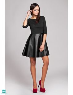 Look at this FIGL Black Faux Leather Dress on today! Black Faux Leather Dress, Look Fashion, Dress Making, Dress Skirt, Dresses For Work, Costume, Lady, Clothes, Women