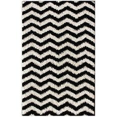 Luna Black and White Chevron Shag Rug (5' x 8')