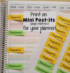 (Free) Customize and print on Mini Post-its for your teacher planner organization. Planner shown is the Erin Condren teacher planner.