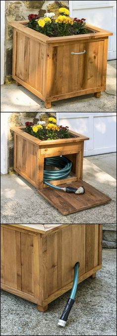 Ted's Woodworking Plans - DIY Pallet Wood Hose Holder with Planter Get A Lifetime Of Project Ideas & Inspiration! Step By Step Woodworking Plans Woodworking Projects Diy, Diy Pallet Projects, Outdoor Projects, Garden Projects, Woodworking Plans, Pallet Ideas, Woodworking Skills, Woodworking Techniques, Backyard Projects