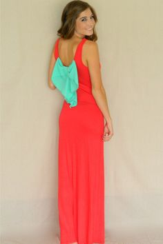 Bow Back Maxi Dress (Coral) | Girly Girl Boutique