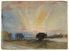 Joseph Mallord William Turner - Sunset across the Park from the Terrace of Petworth House 1827