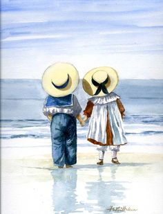Faye Whittaker& range of nostalgic watercolours, produced as cards, cross stitch, prints and various other products. Art Plage, Beach Art, Pictures To Paint, Painting For Kids, Vintage Pictures, Girl Cartoon, Painted Rocks, Watercolor Paintings, Painting Art