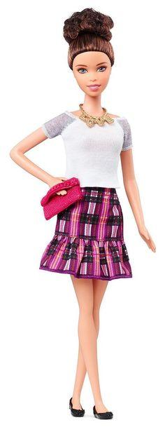 NEW! 2015 Barbie Fashionistas Doll Curly Brunette Blue Eyes White T Plaid Skirt