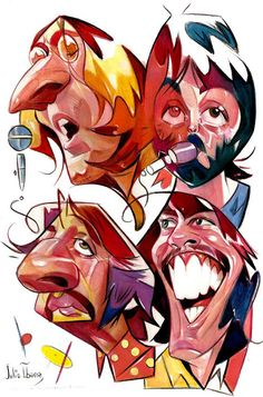 "Caricaturas de Famosos: ""The Beatles"" John, Ringo, Paul y George por Julio..."