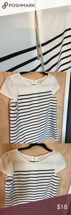 The Loft Top w Cream and Black Stripes. The Loft Top w Cream & Black Stripes. LOFT Tops Blouses