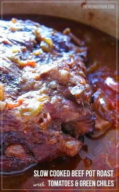 Slow Cooked Beef Pot Roast with Tomatoes and Green Chiles | therisingspoon.com --Take your boring ol' pot roast for a spin by adding in fire roasted green chiles, diced tomatoes, and Tex-Mex spices! This is super easy to make and the leftovers are great shredded and added to tacos, enchiladas, sandwiches, and casseroles. #recipes #realfood #easy #slowcooker #crockpot #stovetop #comfortfood