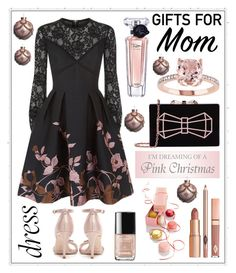 """""""For mom.. #466"""" by meryflower ❤ liked on Polyvore featuring Elie Saab, Jimmy Choo, Ted Baker, Lancôme, Dolce Vita, giftguide, partydress, holiday, MerryChristmas and giftguideformom"""