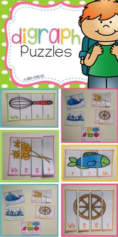 A great center puzzle activity for students to learn and practice the digraphs Ch, Sh, Th, and Wh.