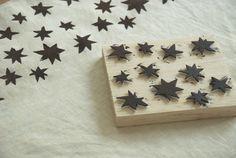 Star Print - foam cutouts on block