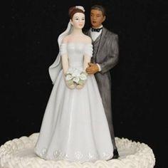 Interracial Brunette Bride African American Groom Cake Topper