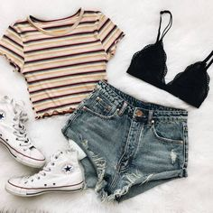Trendy Clothes For Teens Dresses Casual Cute Summer Outfits Teen Fashion Outfits, Mode Outfits, Casual Summer Outfits For Teens, Fashion Ideas, Shorts Outfits For Teens, Cute Summer Outfits Tumblr, Fashion Fashion, Casual Teen Fashion, Fashion Women