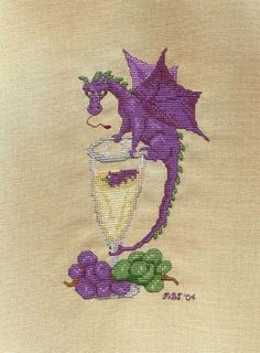 Wine Dragon  Stitched on Cappuccino (Coffee House Collection)  www.hlcfabrics.com/