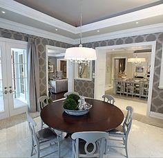 "Pretty grey dining room.  Idea for wallpaper ""second"" dining room in Maine."