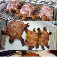 "Turtles- I wanted to share this pic I found from a friend (James Collins) on Facebook. It's SO cute. Just wrap a hamburger in bacon and use hot dogs for the head and limbs. Looks like they did a little basket weave with the bacon and cut ""toes"" into the hot dogs. Kids'll get a kick outta this :)"