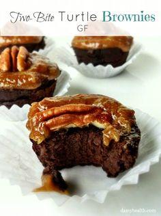 Two-Bite Black Bean Turtles Chocolates Brownies #highfiber #skinny #realfoodingredients PLUS 10 amazing recipes using #Raw #Vegan Salted Caramel http://www.damyhealth.com/2013/09/the-10-best-recipes-using-raw-vegan-caramel/
