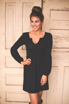 Black Knit long Sleeve Dress. Add a fun colored scarf or chunky necklace...perfect.