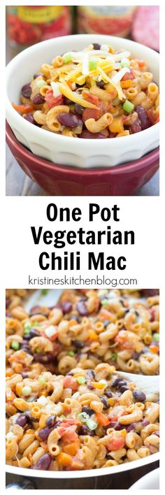 *Use spelt pasta* One Pot Vegetarian Chili Mac - One of THE easiest meals for busy nights! Everything cooks in one skillet, and the pasta absorbs SO much flavor! One Pot Vegetarian, Vegetarian Dinners, Vegetarian Cooking, Veggie Dinners, Weeknight Dinners, Veggie Recipes, Dinner Recipes, Cooking Recipes, Healthy Recipes