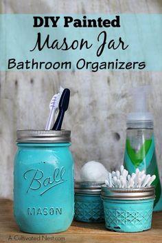 Cute DIY Mason Jar Ideas - Mason Jar Bathroom Organizers - Fun Crafts, Creative…