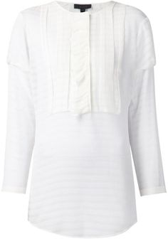 Burberry Prorsum Sheer Striped Blouse in White