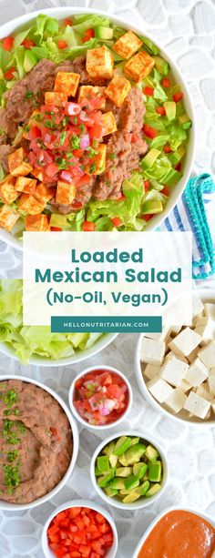 Oil-Free Vegan Loaded Mexican Salad Recipe by Hello Nutritarian Mexican Salad Recipes, Mexican Salads, Vegan Recipes Easy, Whole Food Recipes, Diet Recipes, Vegetarian Recipes, Recipies, Eat To Live Diet, Plant Based Eating
