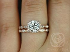 Christie 7mm 14kt Rose Gold FB Moissanite and by RosadosBox