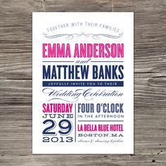 Navy And Pink Wedding Invitation Sample Layered Invite Blue Hot With Silver Envelopes Modern Tiled Design