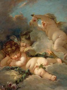 "overdose-art: "" ""Francois Boucher, Le Sommeil des Amours (Love's Sleep) "" "" Renaissance Kunst, Italian Renaissance Art, Renaissance Paintings, Art And Illustration, Classical Art Memes, Classic Paintings, Angel Art, Old Art, Aesthetic Art"