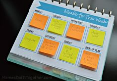 Free Sticky Note Meal Planner Printable- Download this great menu planning tool. Write your meals on sticky notes and rearrange for the week as needed!