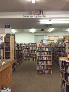 """Books for Tall People"" fun library book display"