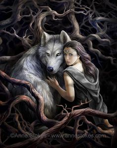Anne Stokes --- fantasy artwork - dire wolf and girl in forest -- inspiration Game of Thrones. Work can be found at www.annestokes.com
