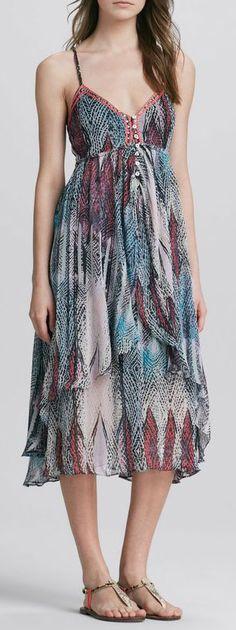 Free People Strappyback Gypsy Dress in Blue (MULTI)
